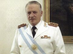 Galtieri receives the presidential sash from Admiral Anaya