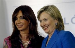 CFK and Hillary Clinton during the Secretary of State visit to Argentina