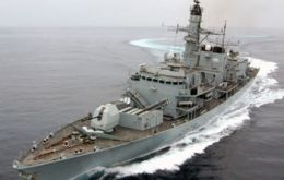 The frigate is currently sailing for her six months patrolling in the South Atlantic