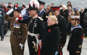 The main ceremonies took place at the Cross of Sacrifice and at Stanley's Cathedral (Photo PN)