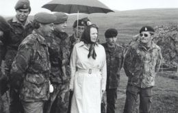 Margaret Thatcher during one of her visits to the Falklands following the conflict