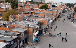 Shanty towns next to Buenos Aires main train station