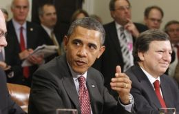 Van Rompuy, Obama and Barroso at the White House  (Photo AP)