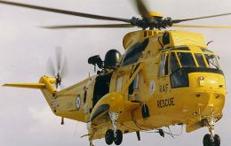 A Sea King helicopter operating in the Irish Sea