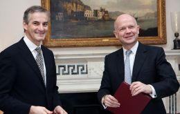 Norway's Foreign Secretary Jonas Gahr Store and Foreign Secretary Hague