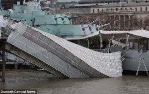 The end of the gangway attached to HMS Belfast appears to have sheared off and plunged into the river