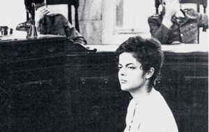 Student Rousseff, 22, sitting before a military court