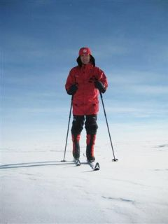 Norwegian PM Stoltenberg skiing in the South Pole ready for tomorrow's celebration (Photo By Handout/Reuters)