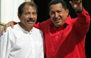Nicaragua's Daniel Ortega and Venezuela's Chavez in the first line