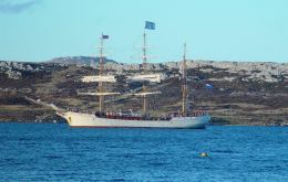 The tall-ship Europa in Stanley harbour
