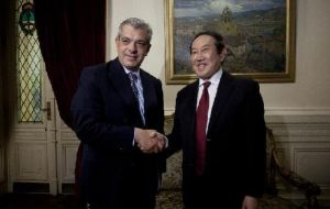 Argentina's Lower House Julian Dominguez with Jiang Shusheng