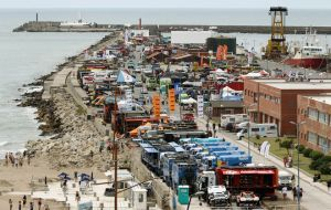 The vehicles lined up in the Argentine sea resort of Mar del Plata
