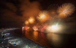 The display of fireworks in Copacabana beach
