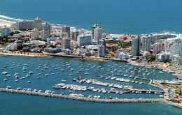The port of Punta del Este full of recreational and fishing vessels plus several cruises