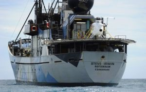 The 'Steve Irwin' and 'Brigitte Bardot' calls at the Australian Fremantle port