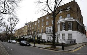 The square near Kensington Palace has topped a survey of house prices