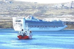 cruise   vessel   Star   Princess in Stanley harbour