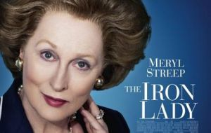 A poster promoting Margaret (Streep) Thatcher