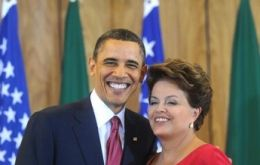 Obama visited Rousseff in Brazil last March