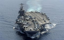 Carrier USS Abraham Lincoln and strike group entered the Gulf crossing Hormuz