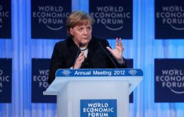 The German Chancellor addressing the World Forum at Davos