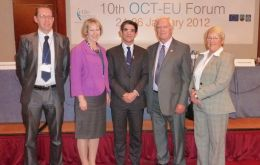 Left to right: Jamie Fotheringham, Sukey Cameron, Theo Saramandis (Director General of the OCT Task Force of the EU), MLA Edwards and MLA Halford