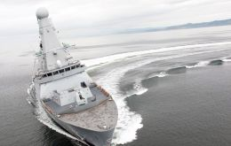 The Portsmouth-based Dauntless will be the first of the RN new £1bn Type 45 destroyers to go to the area
