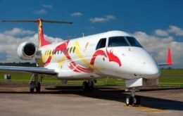 Embraer Brand Ambassador with his Legacy 650 painted with a dragon logo
