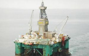 "The state of the art ""Leiv Eiriksson"" is drilling in Falklands' government licensed areas"