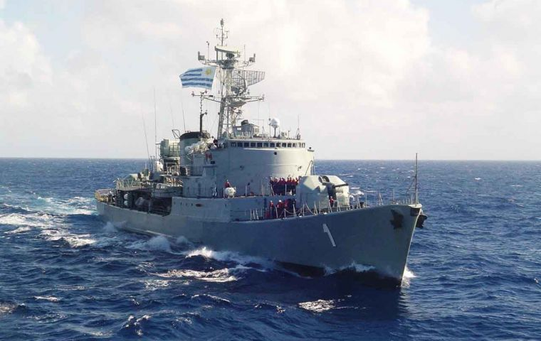 The Uruguayan navy patrolling