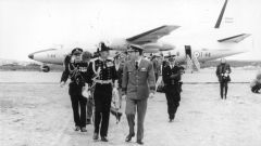 First Argentine LADE Fokker F27 flight, 15 November 1972; Falklands Governor Sir Ernest Gordon Lewis CMG, OBE meets Argentine Air Force officers