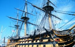 The Royal Navy's oldest commissioned vessel, Lord Nelson's flagship HMS Victory, at Portsmouth Historic Dockyard