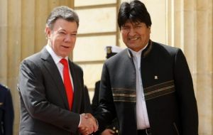 President Santos and Bolivia's Evo Morales during their recent meeting
