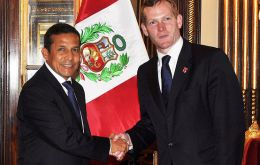 President Humala with Foreign Office minister Jeremy Browne last week in Lima