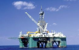 The Leiv Eiriksson rig drilling in Falklands waters