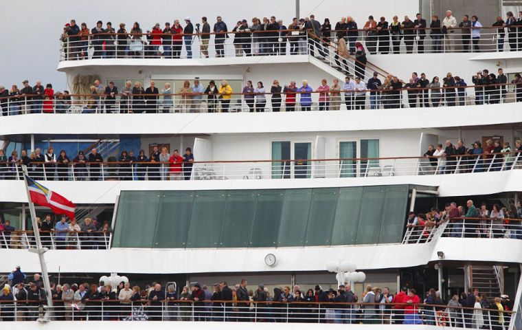 Thousands boarded the Balmoral cruise ship which left Southampton and will travel to the spot where the Titanic sank in April 1912 (Photo PA)