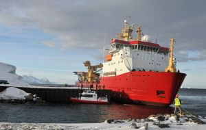 HMS Protector at BAS Rothera station where she unloaded supplies and much needed aviation fuel  (Photo: Navy News)