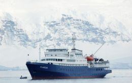 M/V Plancius docked in South Georgia after experiencing mechanical problems