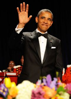 The US president at the black-tie dinner (Photo/Mike Theiler WHCA)