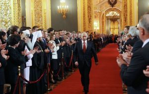 The president in a lavish ceremony in the Kremlin called for deep reforms in the economy to boost technology and investment (Photo: Afp)