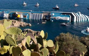 The capsized cruise off the Italian coast which caused the death of 32 people