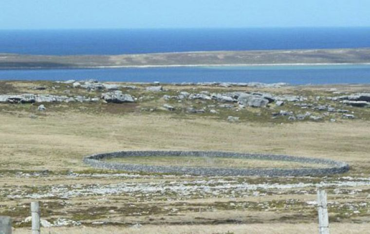 The cleared area contains the Stone Corral, an exquisite piece of early Falklands' history