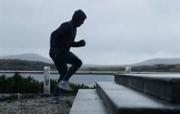 Argentine midfielder Fernando Zylberberg training at the Battle of the Falklands' monument in Stanley