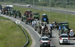 Tractors, harvesters, trucks protest property tax hikes