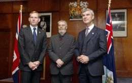 Minister Browne next to MLA Gavin Short and Falklands' Governor Nigel Haywood (Photo: Reuters)