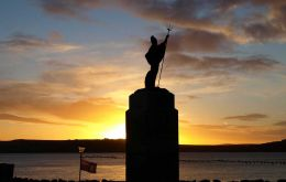 The Liberation monument, sleet during the poignant remembrance, but later a beautiful sunset.