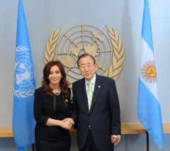 Argentine President Cristina Fernandez with the UN Secretary General