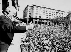 General Galtieir addressing a packed Plaza de Mayo on invading the Falklands
