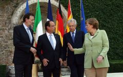 The four leaders at Rome's Renaissance Villa Madama, hosted by PM Monti (Photo: EPA)