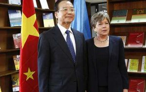 The Chinese Premier and host ECLAC director general Alicia Bárcena